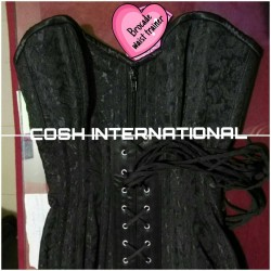 Overbust Black Brocade Corset With Real Steel Bones